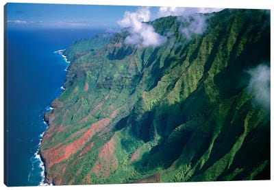 Rugged Cliffs Along Na Pali Coast State Park, Kauai, Hawaii Canvas Art Print
