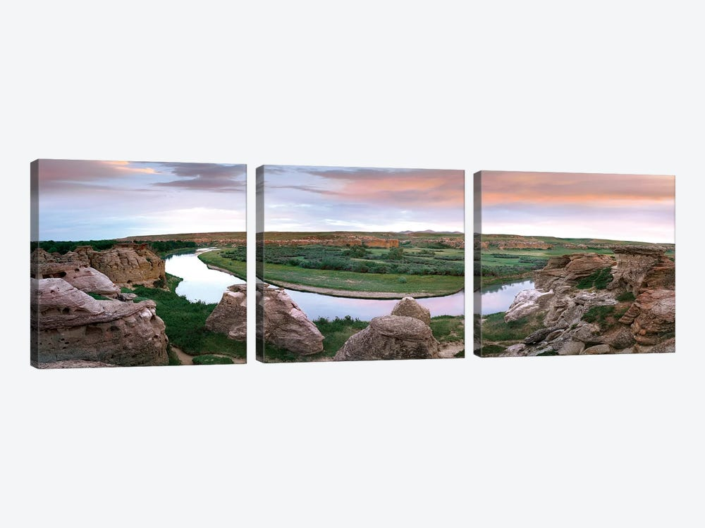 Bend In The Milk River, Writing-On-Stone Provincial Park, Alberta, Canada by Tim Fitzharris 3-piece Canvas Art