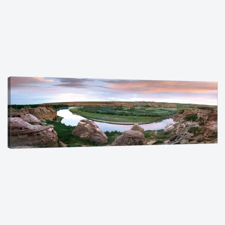 Bend In The Milk River, Writing-On-Stone Provincial Park, Alberta, Canada 3-Piece Canvas #TFI93} by Tim Fitzharris Art Print