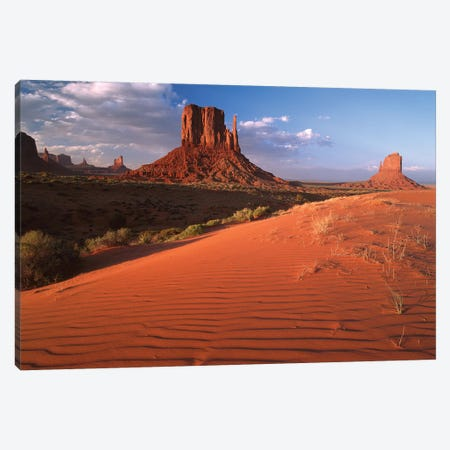 Sand Dunes And The Mittens, Monument Valley Navajo Tribal Park, Arizona 3-Piece Canvas #TFI953} by Tim Fitzharris Canvas Art