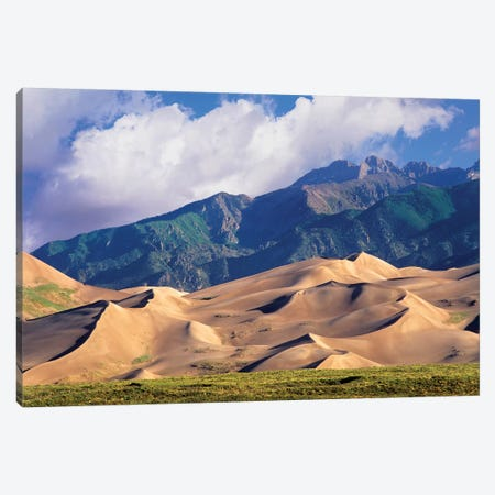 Sand Dunes With Sangre De Cristo Mountains In The Background, Great Sand Dunes National Park And Preserve, Colorado Canvas Print #TFI954} by Tim Fitzharris Canvas Print