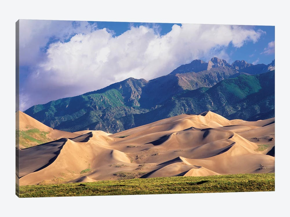 Sand Dunes With Sangre De Cristo Mountains In The Background, Great Sand Dunes National Park And Preserve, Colorado 1-piece Art Print