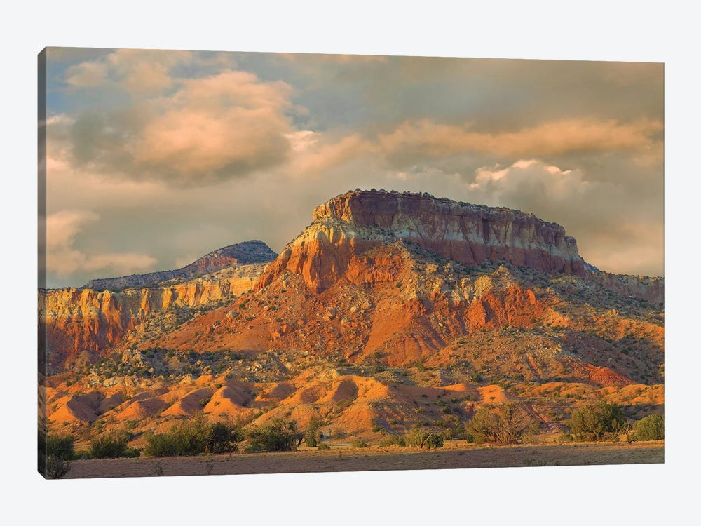 Sandstone Butte Showing Sedimentary Rock Layers, New Mexico 1-piece Canvas Wall Art