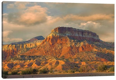 Sandstone Butte Showing Sedimentary Rock Layers, New Mexico Canvas Art Print
