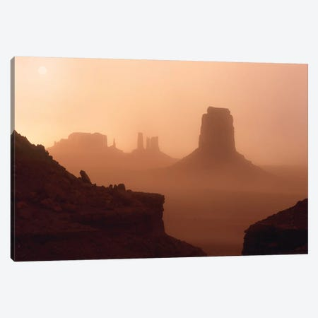 Sandstorm Enshrouding Mittens, Monument Valley, Arizona Canvas Print #TFI967} by Tim Fitzharris Canvas Wall Art