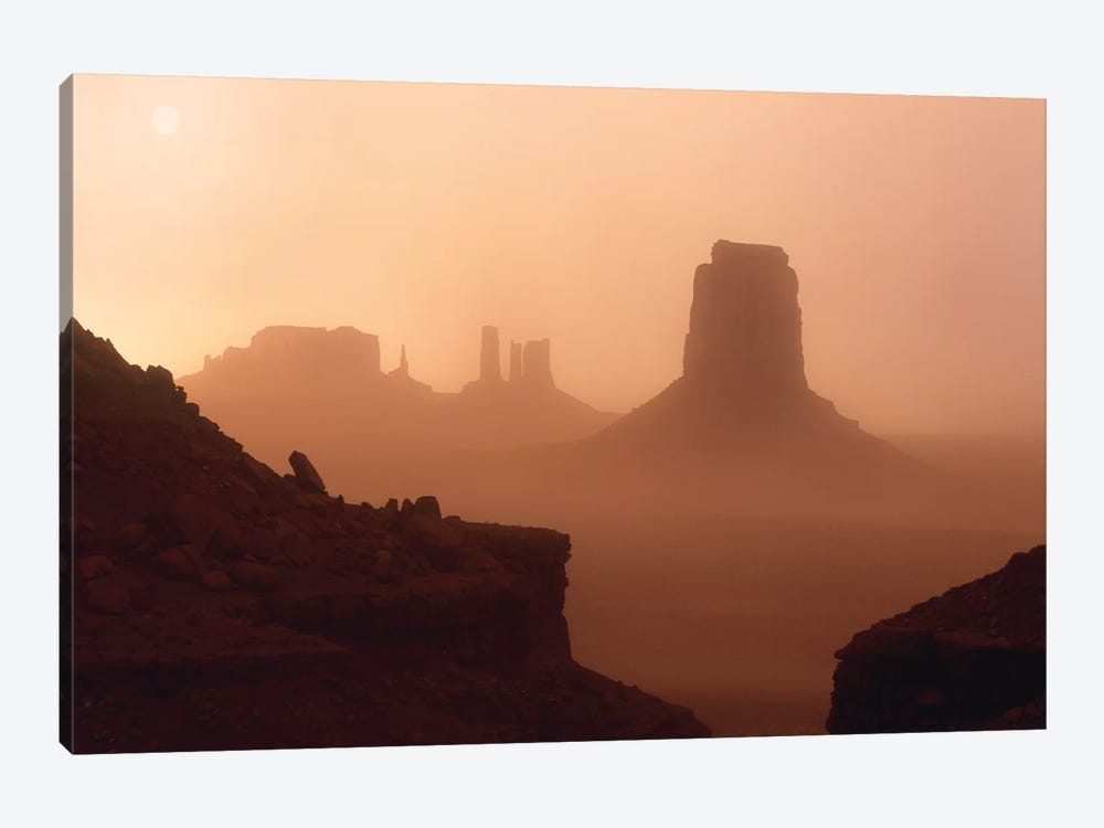 Sandstorm Enshrouding Mittens, Monument Valley, Arizona by Tim Fitzharris 1-piece Canvas Print