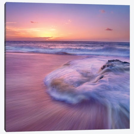 Sandy Beach At Sunset, Oahu, Hawaii Canvas Print #TFI969} by Tim Fitzharris Canvas Art Print