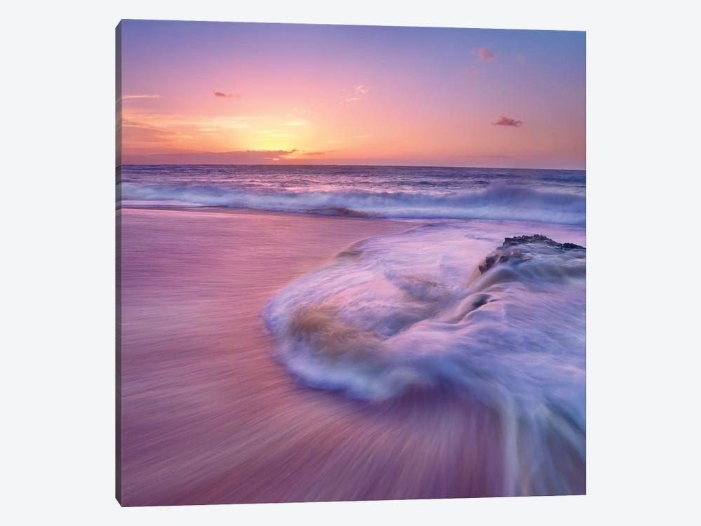 Sandy Beach At Sunset, Oahu, Hawaii by Tim Fitzharris 1-piece Canvas Print