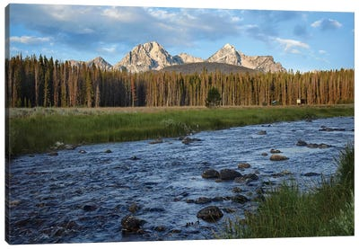 Sawtooth Range And Stanley Lake Creek, Idaho Canvas Art Print