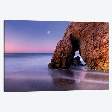 Sea Arch And Full Moon Over El Matador State Beach, Malibu, California Canvas Print #TFI980} by Tim Fitzharris Canvas Art Print