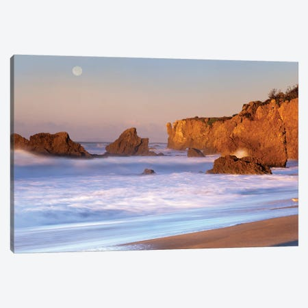 Seastacks And Full Moon At El Matador Beach, California Canvas Print #TFI986} by Tim Fitzharris Canvas Art