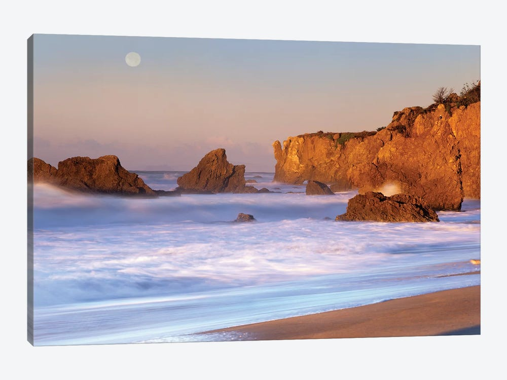 Seastacks And Full Moon At El Matador Beach, California by Tim Fitzharris 1-piece Canvas Art