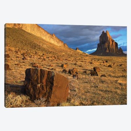 Shiprock, The Basalt Core Of An Extinct Volcano, Tuff-Breccia Ejected Boulders In Foreground, New Mexico I Canvas Print #TFI998} by Tim Fitzharris Canvas Art