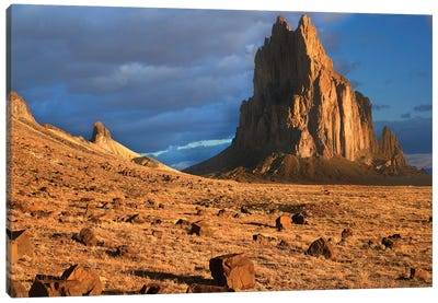 Shiprock, The Basalt Core Of An Extinct Volcano, Tuff-Breccia Ejected Boulders In Foreground, New Mexico II Canvas Art Print