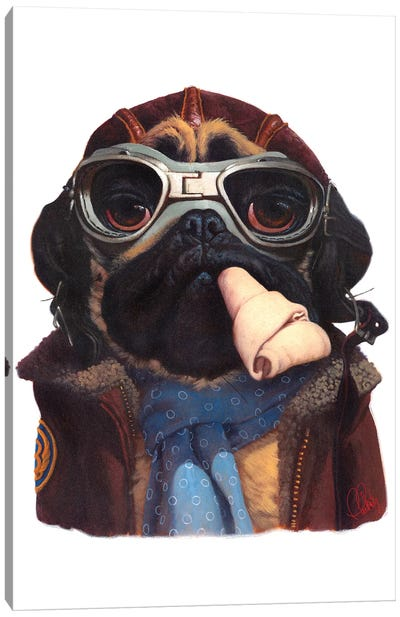 Aviator Pug Canvas Art Print