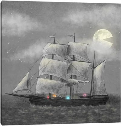 Ghost Ship Square Canvas Art Print