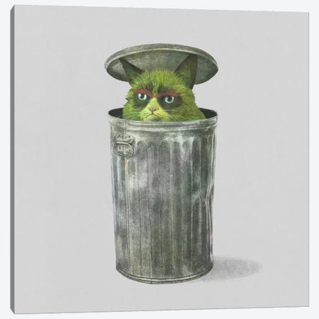 Grouchy Cat Square Canvas Print #TFN105} by Terry Fan Art Print