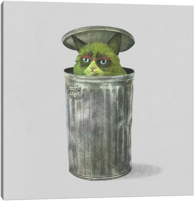 Grouchy Cat Square Canvas Art Print