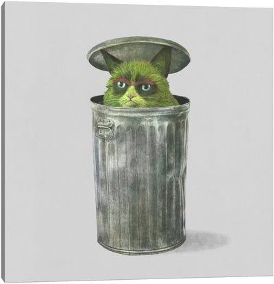Grouchy Cat Square Canvas Art Print