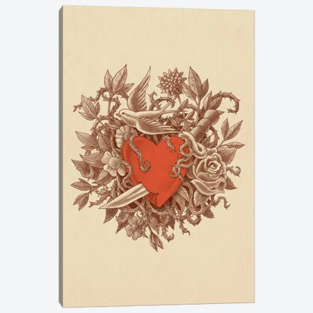 Heart Of Thorns Portrait Canvas Print #TFN109} by Terry Fan Canvas Artwork