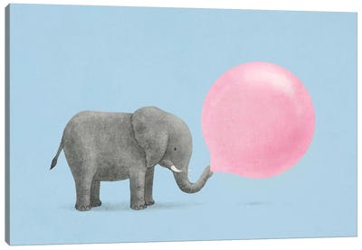 Jumbo Bubble Gum Blue Canvas Art Print