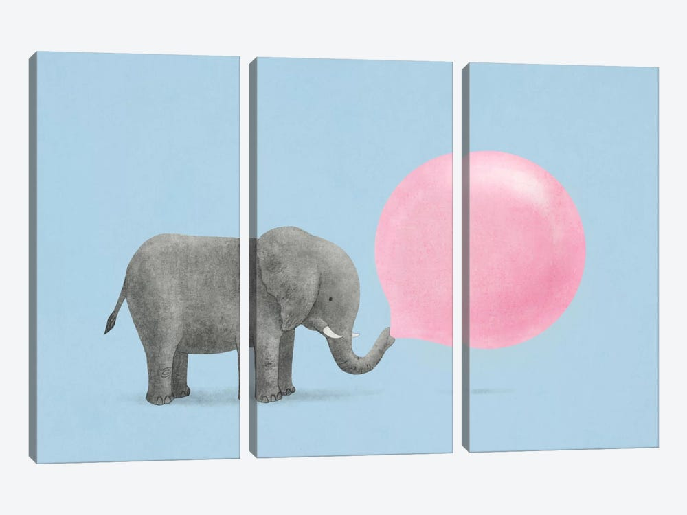 Jumbo Bubble Gum Blue by Terry Fan 3-piece Canvas Artwork
