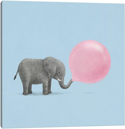 Jumbo Bubble Gum Blue Square Canvas Art Print