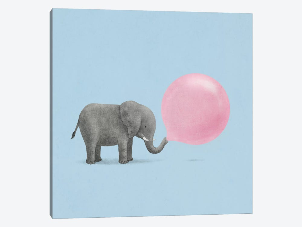 Jumbo Bubble Gum Blue Square by Terry Fan 1-piece Canvas Artwork
