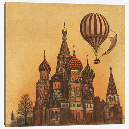 Moving To Moscow Square Canvas Print #TFN133} by Terry Fan Art Print