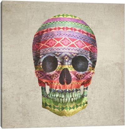 Navajo Skull Square Canvas Print #TFN138
