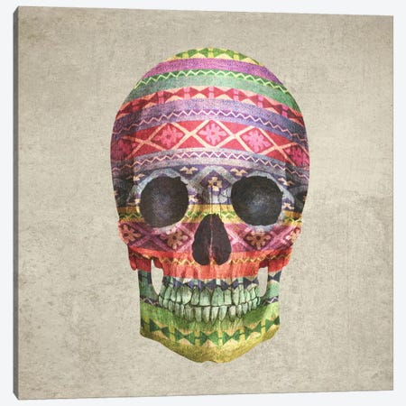 Navajo Skull Square Canvas Print #TFN138} by Terry Fan Canvas Print