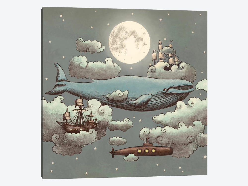 Ocean Meets Sky Square #1 by Terry Fan 1-piece Canvas Art