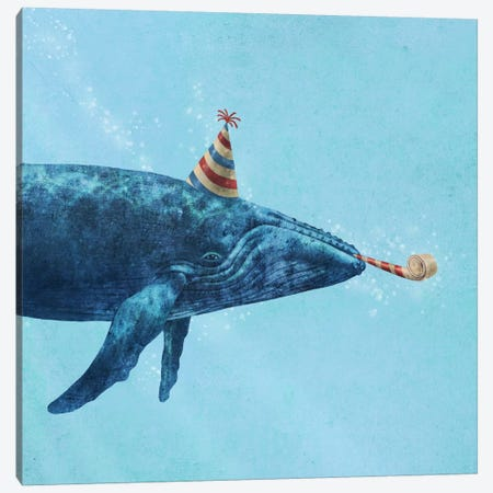 Party Whale Canvas Print #TFN154} by Terry Fan Canvas Wall Art