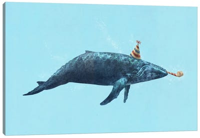 Party Whale Landscape Canvas Print #TFN155