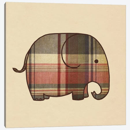 Plaid Elephant Canvas Print #TFN158} by Terry Fan Art Print