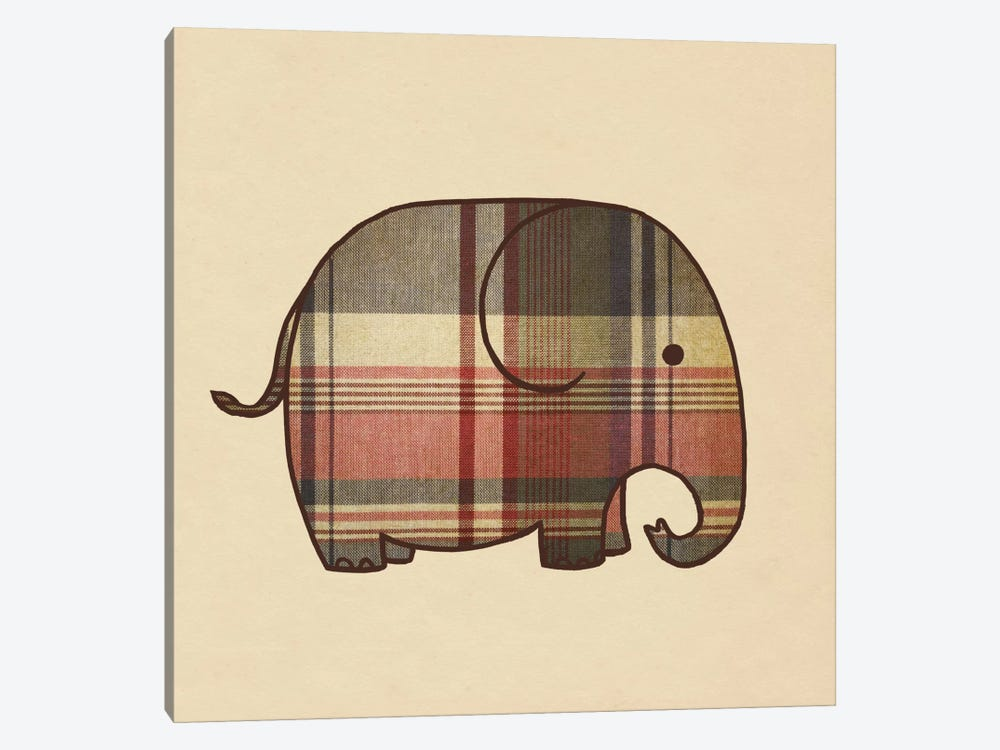Plaid Elephant by Terry Fan 1-piece Canvas Wall Art
