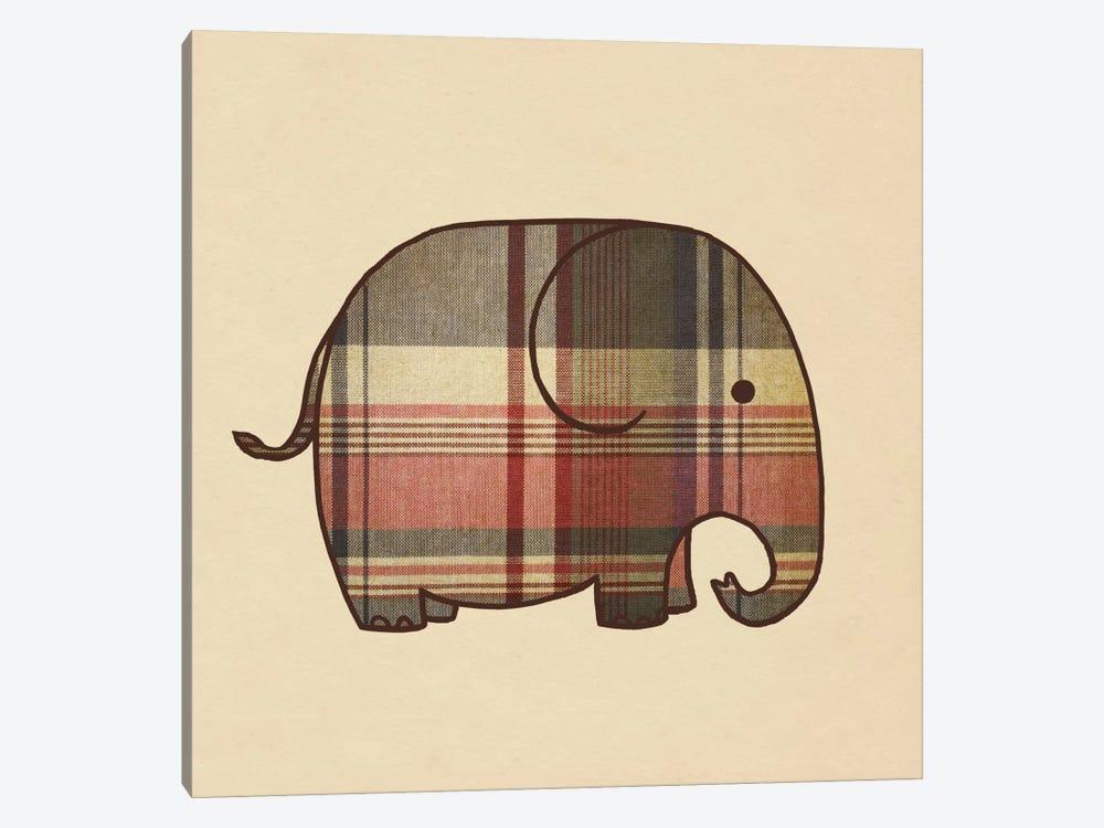 Plaid Elephant by Terry Fan 1-piece Canvas Wall Art