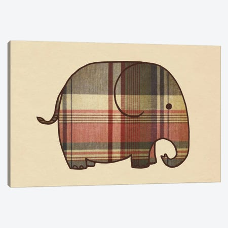 Plaid Elephant Landscape Canvas Print #TFN159} by Terry Fan Canvas Print