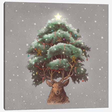 Reindeer Tree Canvas Print #TFN162} by Terry Fan Canvas Art