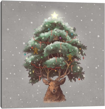 Reindeer Tree Canvas Art Print