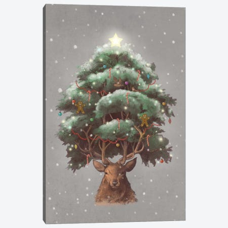 Reindeer Tree Portrait Canvas Print #TFN163} by Terry Fan Canvas Art