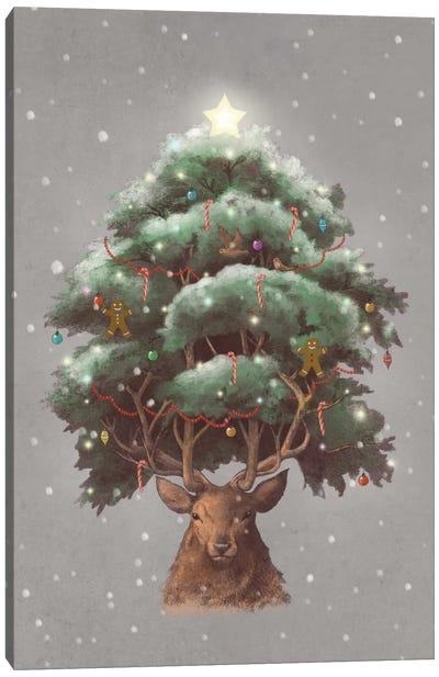 Reindeer Tree Portrait Canvas Art Print