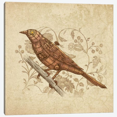 Steampunk Songbird Square Canvas Print #TFN186} by Terry Fan Art Print