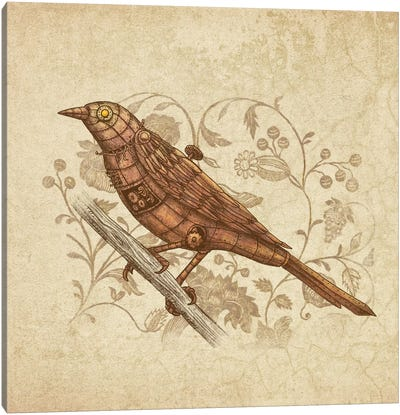 Steampunk Songbird Square Canvas Print #TFN186