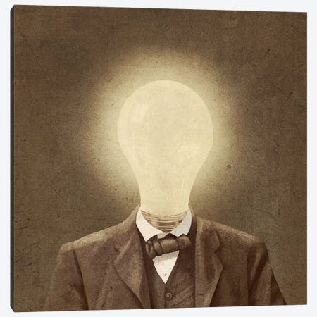 The Idea Man Square Canvas Print #TFN201} by Terry Fan Canvas Print