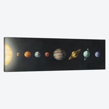 The Solar System Black Canvas Print #TFN206} by Terry Fan Canvas Art