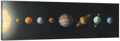 The Solar System Black Canvas Print #TFN206