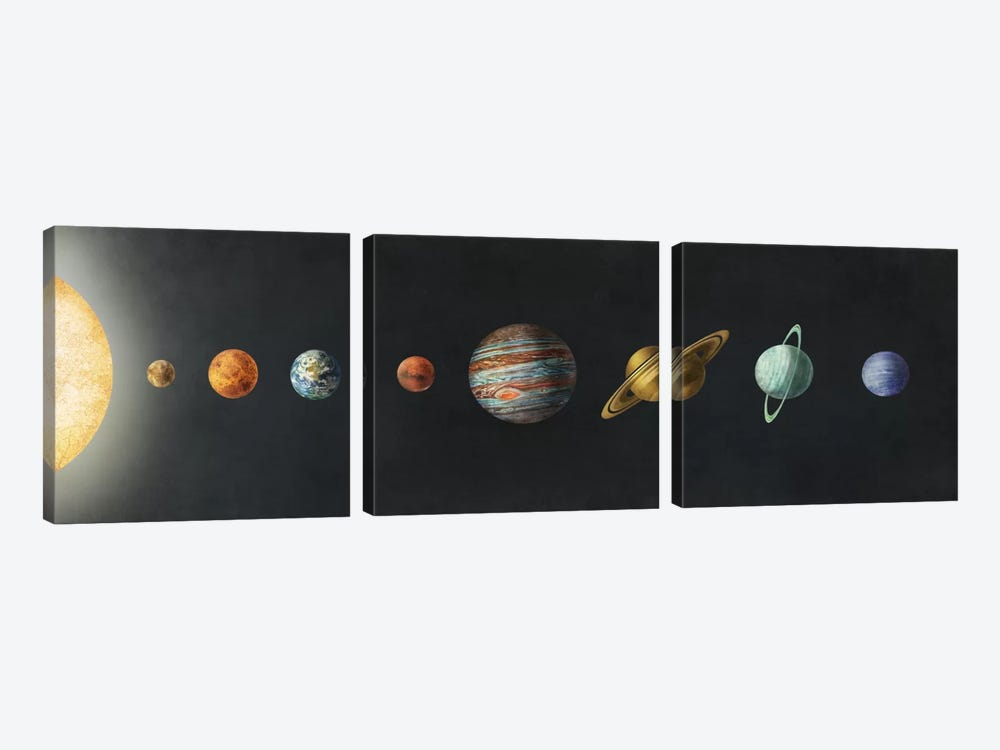 The Solar System Black by Terry Fan 3-piece Canvas Art Print
