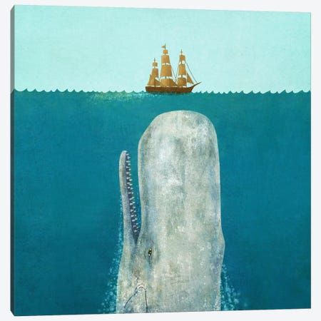 The Whale Square Canvas Print #TFN209} by Terry Fan Canvas Print