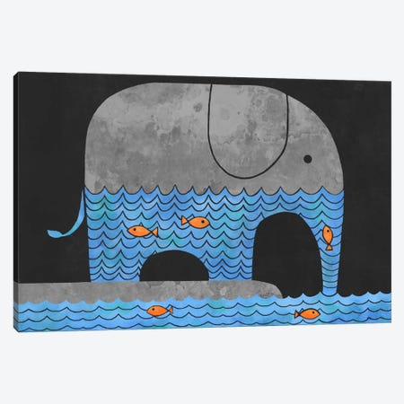 Thirsty Elephant Canvas Print #TFN210} by Terry Fan Canvas Artwork